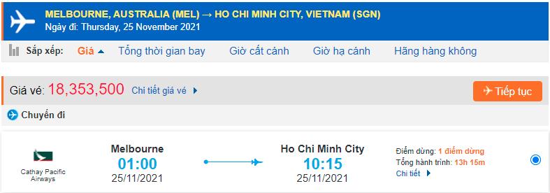 Vé máy bay từ Úc về Việt Nam giá rẻ