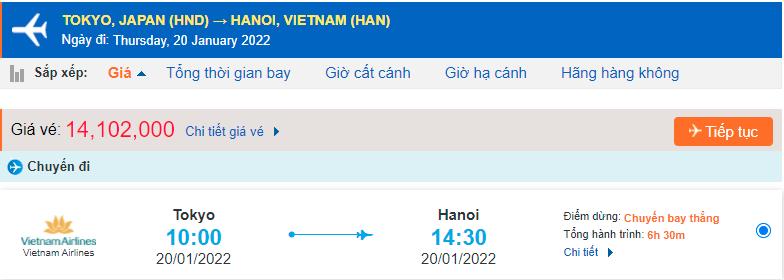 Giá vé máy bay từ Nhật Bản về Việt Nam Vietnam Airlines