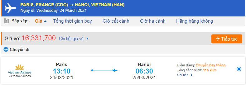 Vé máy bay từ Pháp bề Việt Nam - Hà Nội