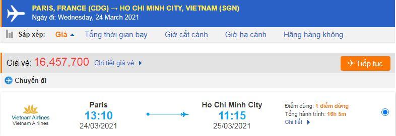 Vé máy bay từ Pháp bề Việt Nam-HCM
