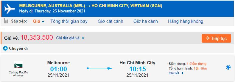 Vé máy bay từ Sydney về Hồ Chí Minh
