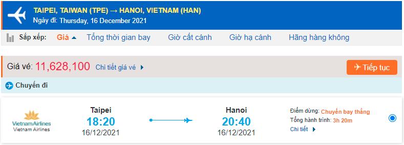 Giá vé máy bay từ Đài Loan về Hà Nội Vietnam Airlines