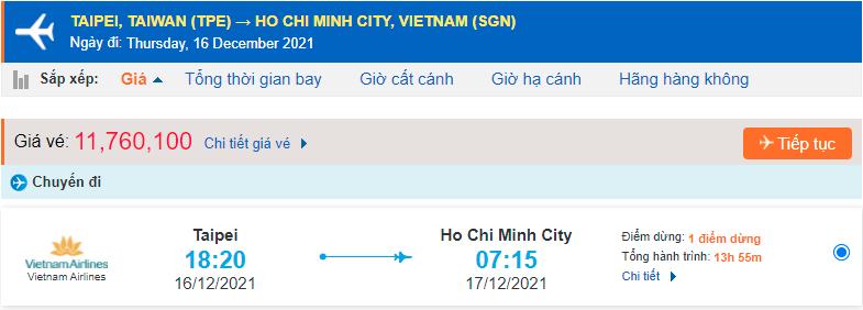 Giá vé máy bay từ Đài Loan về TPHCM Vietnam Airlines