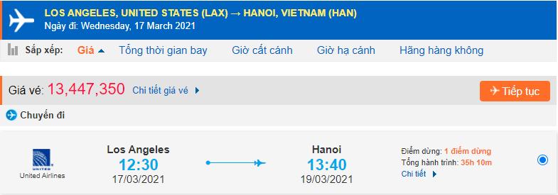 Giá vé máy bay Los Angeles về Việt Nam United Airlines