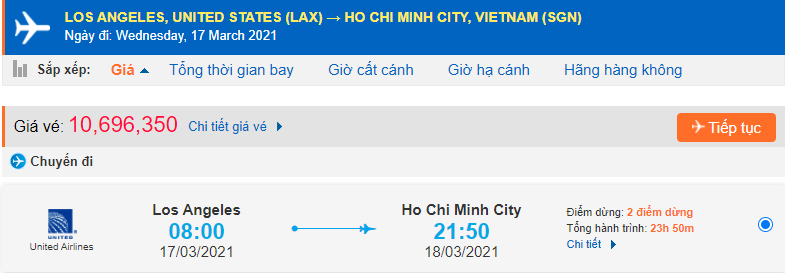 Vé máy bay từ Los Angeles về Sài Gòn