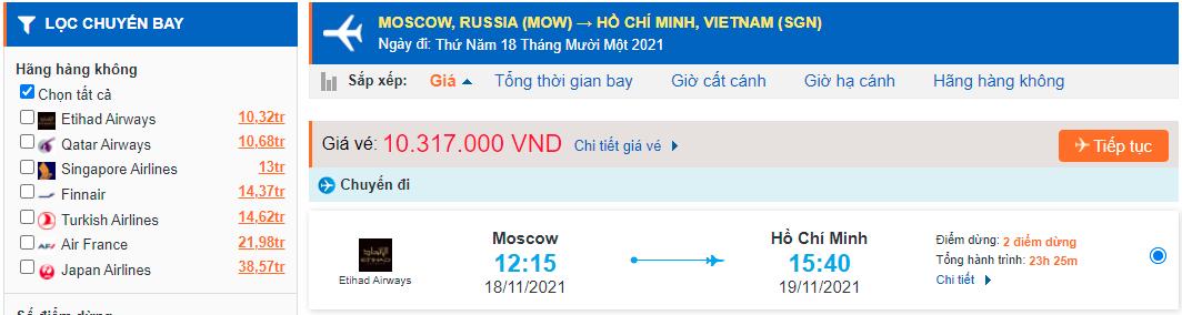 Vé máy bay từ Nga về Việt Nam - TPHCM