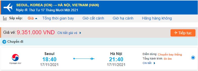 Vé máy bay từ Seoul về Hà Nội