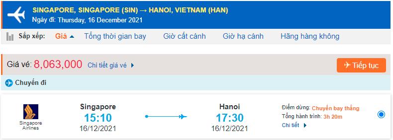 Giá vé máy bay từ Singapore về Hà Nội