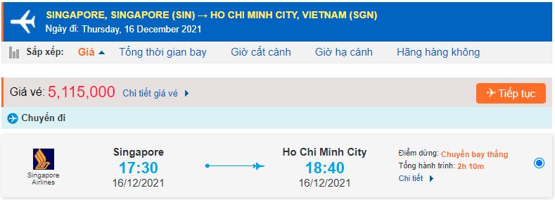 Vé máy bay từ Singapore về Hồ Chí Minh
