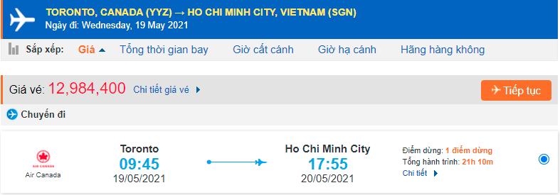 Vé máy bay từ Toronto về Việt Nam - Hồ Chí Minh