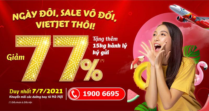 Sale 77% giá vé máy bay ngày 7/7 khuyến mãi từ Vietjet Air